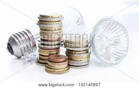 Light Bulbs With Euro Coins