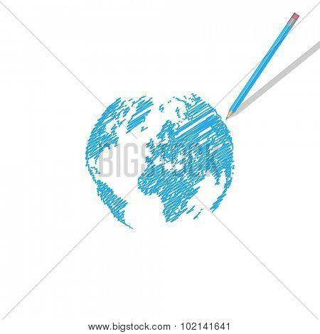 World Map Scribble Illustration