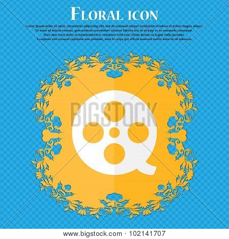 Film . Floral Flat Design On A Blue Abstract Background With Place For Your Text. Vector