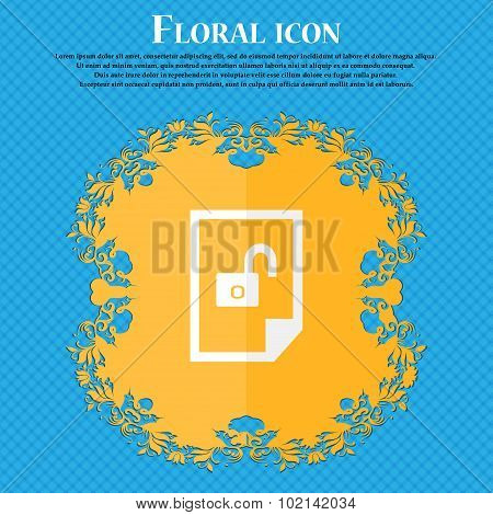 File Locked Icon Sign. Floral Flat Design On A Blue Abstract Background With Place For Your Text. Ve