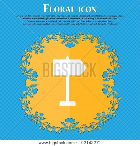 Signpost. Floral Flat Design On A Blue Abstract Background With Place For Your Text. Vector