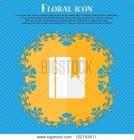 Book Bookmark . Floral Flat Design On A Blue Abstract Background With Place For Your Text. Vector