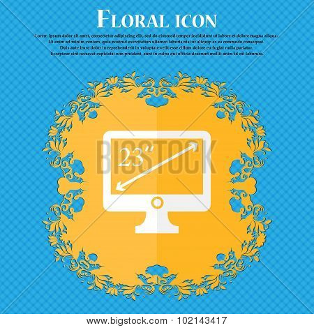 Diagonal Of The Monitor 23 Inches Icon Sign. Floral Flat Design On A Blue Abstract Background With P