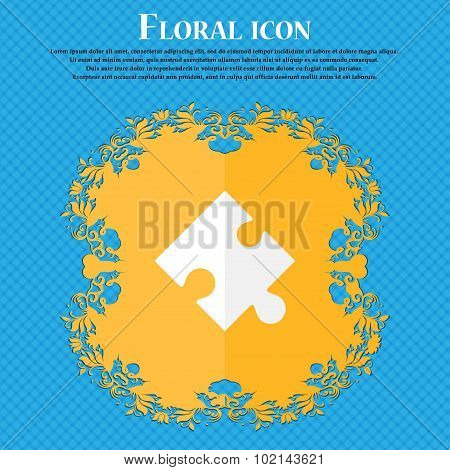 Puzzle Piece Icon Sign. Floral Flat Design On A Blue Abstract Background With Place For Your Text. V