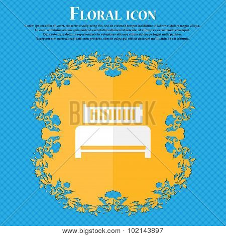 Hotel, Bed Icon Sign. Floral Flat Design On A Blue Abstract Background With Place For Your Text. Vec