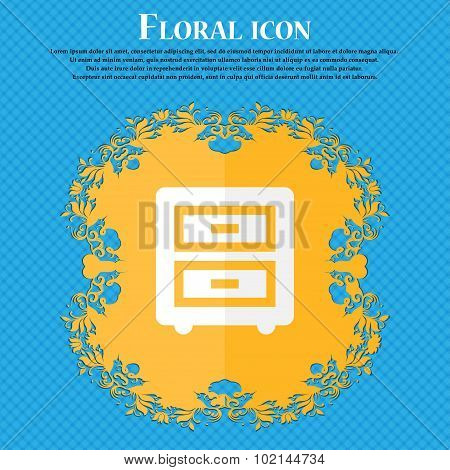 Nightstand . Floral Flat Design On A Blue Abstract Background With Place For Your Text. Vector