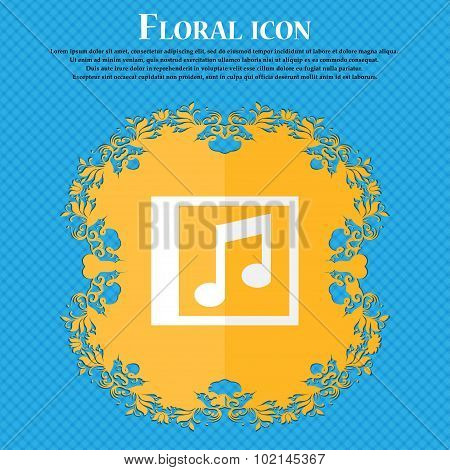 Audio, Mp3 File . Floral Flat Design On A Blue Abstract Background With Place For Your Text. Vector