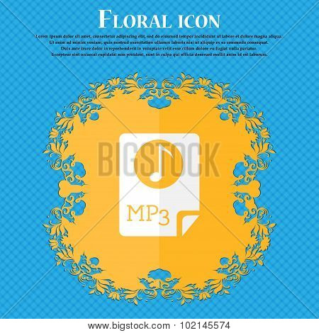 Audio, Mp3 File Icon Sign. Floral Flat Design On A Blue Abstract Background With Place For Your Text
