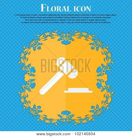 Judge Hammer Icon. Floral Flat Design On A Blue Abstract Background With Place For Your Text. Vector