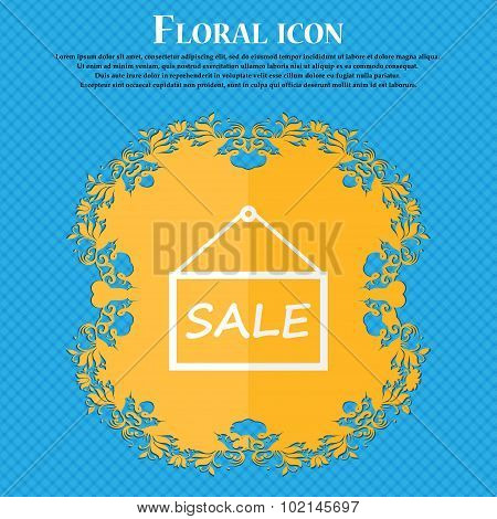 Sale Tag Icon Sign. Floral Flat Design On A Blue Abstract Background With Place For Your Text. Vecto