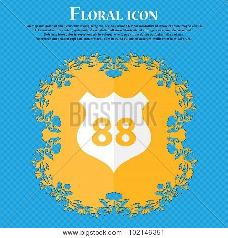 Route 88 Highway Icon Sign. Floral Flat Design On A Blue Abstract Background With Place For Your Tex