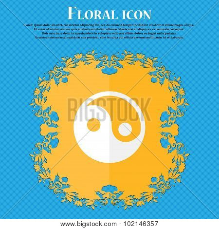 Ying Yang . Floral Flat Design On A Blue Abstract Background With Place For Your Text. Vector