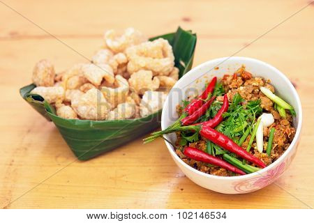 Thai Food Appetizer ,nam Prik Aong ,thai Northern Style Pork And Tomato Relish And And Pork Snack.