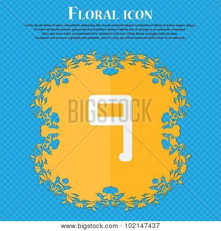 Number Nine Icon Sign. Floral Flat Design On A Blue Abstract Background With Place For Your Text. Ve