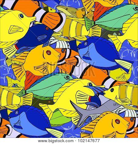 Seamless pattern Tropical fish