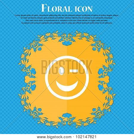 Winking Face . Floral Flat Design On A Blue Abstract Background With Place For Your Text. Vector