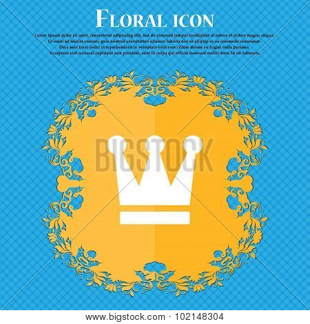 King, Crown . Floral Flat Design On A Blue Abstract Background With Place For Your Text. Vector