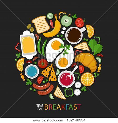 Breakfast.  Food collection on a dark background, flat style