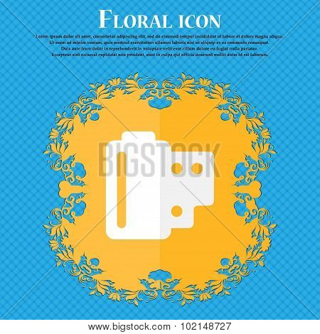 35 Mm Negative Films . Floral Flat Design On A Blue Abstract Background With Place For Your Text. Ve