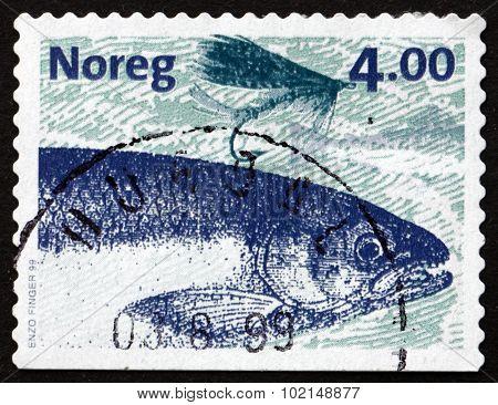 Postage Stamp Norway 1999 Atlantic Salmon, Fish