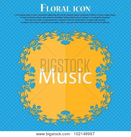 Music Sign Icon. Karaoke Symbol. Floral Flat Design On A Blue Abstract Background With Place For You