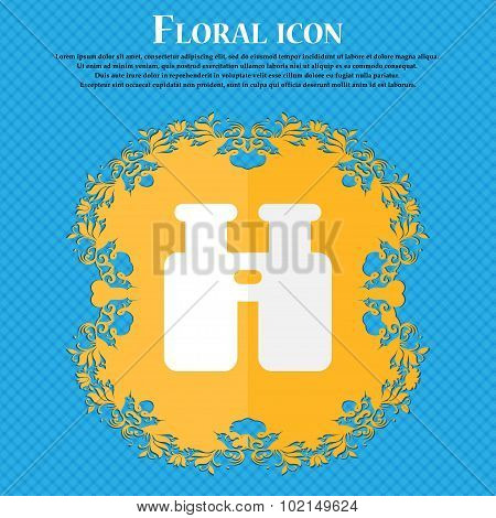 Binocular, Search, Find Information . Floral Flat Design On A Blue Abstract Background With Place Fo