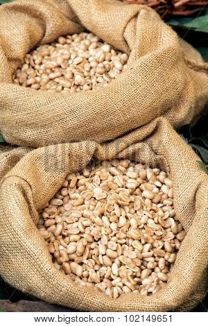 Hessian Bags Filled With Fresh Roasted Peanuts