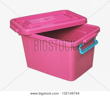 Pink Plastic Box Isolated On White