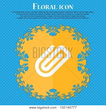 Paper Clip . Floral Flat Design On A Blue Abstract Background With Place For Your Text. Vector