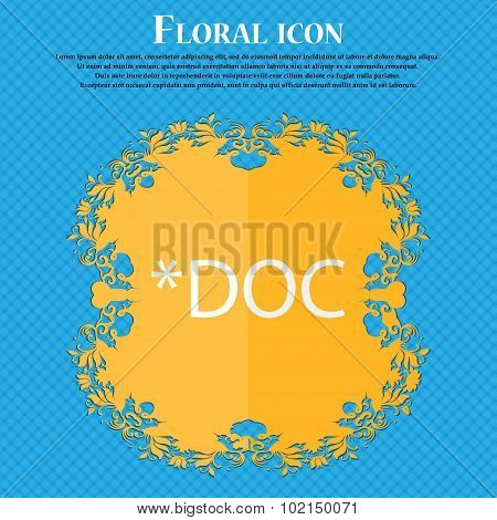 File Document Icon. Download Doc Button. Doc File Extension Symbol. Floral Flat Design On A Blue Abs