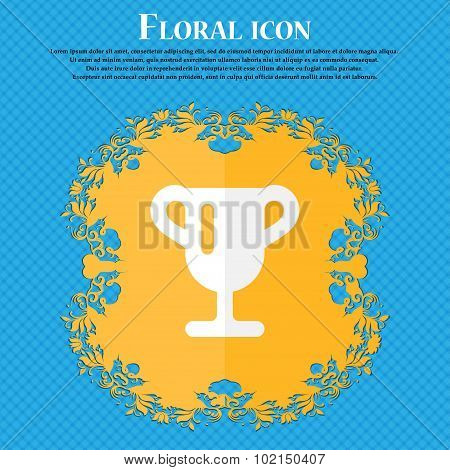 Winner Cup, Awarding Of Winners, Trophy . Floral Flat Design On A Blue Abstract Background With Plac