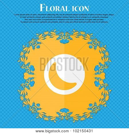 Moon . Floral Flat Design On A Blue Abstract Background With Place For Your Text. Vector