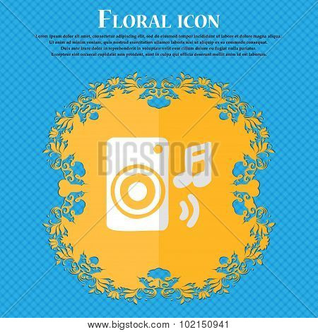 Music Column, Disco, Music, Melody, Speaker. Floral Flat Design On A Blue Abstract Background With P