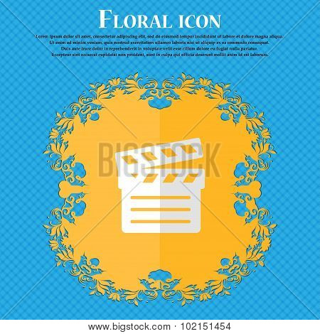Cinema Clapper. Floral Flat Design On A Blue Abstract Background With Place For Your Text. Vector