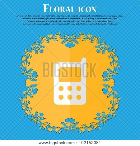Mobile Phone. Floral Flat Design On A Blue Abstract Background With Place For Your Text. Vector