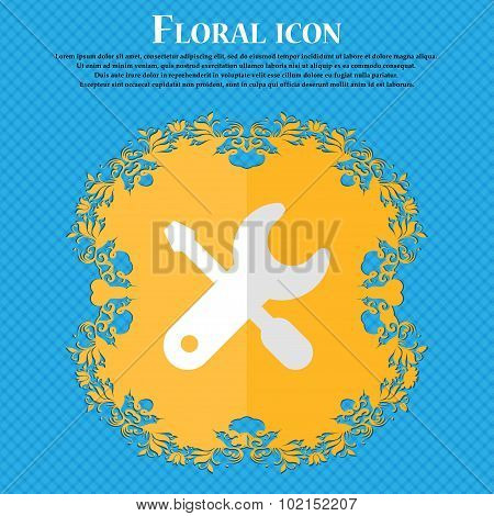 Screwdriver, Key, Settings. Floral Flat Design On A Blue Abstract Background With Place For Your Tex
