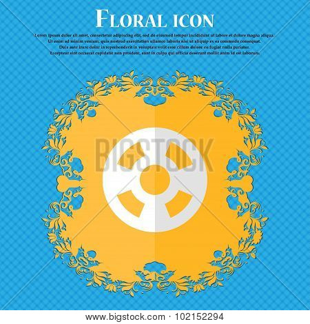 Film. Floral Flat Design On A Blue Abstract Background With Place For Your Text. Vector