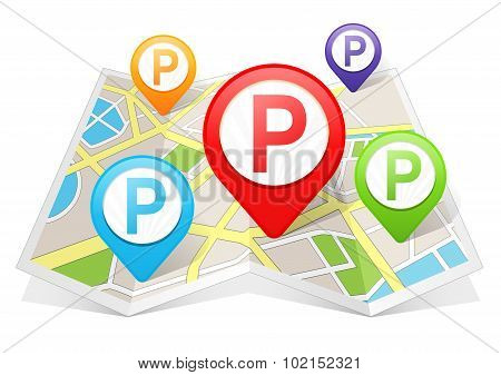 Parking Map pointer Location Destination on map