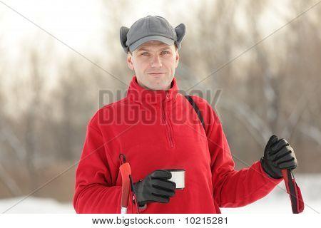 Skier Drinking Tea