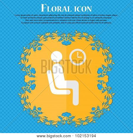 Waiting. Floral Flat Design On A Blue Abstract Background With Place For Your Text. Vector