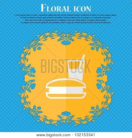 Lunch Box. Floral Flat Design On A Blue Abstract Background With Place For Your Text. Vector