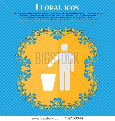 Throw Away The Trash. Floral Flat Design On A Blue Abstract Background With Place For Your Text. Vec