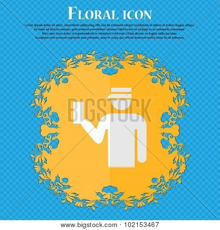 Inspector. Floral Flat Design On A Blue Abstract Background With Place For Your Text. Vector