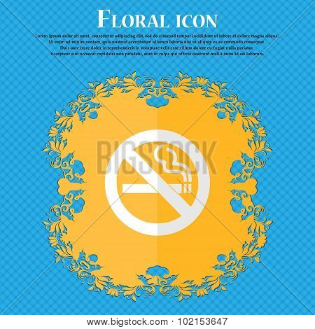 No Smoking. Floral Flat Design On A Blue Abstract Background With Place For Your Text. Vector