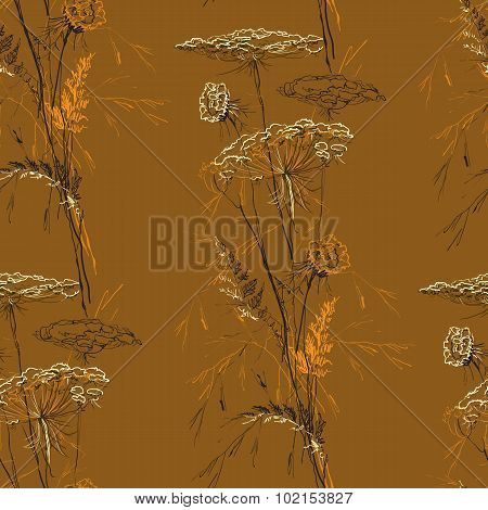 Autumn Brown Seamless Vintage Pattern with Herbs.