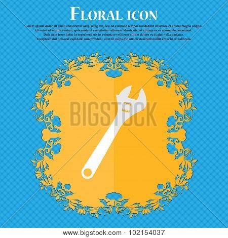 Wrench. Floral Flat Design On A Blue Abstract Background With Place For Your Text. Vector