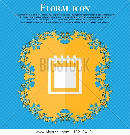 Notepad. Floral Flat Design On A Blue Abstract Background With Place For Your Text. Vector