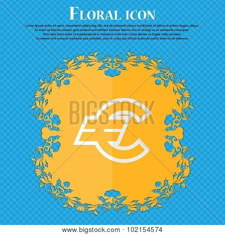 Euro Eur. Floral Flat Design On A Blue Abstract Background With Place For Your Text. Vector
