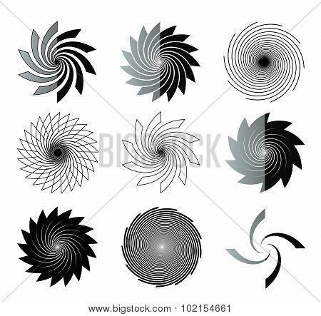 Black And White Vortex Shapes Illustration Set