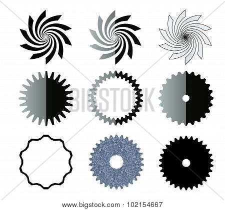 Vortex, Stars And Gears Shapes